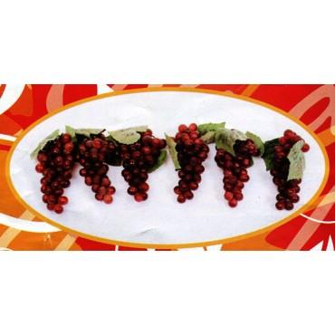 6 grappoli di uva x 51 rossa finta cm 16 (prezzo per 6 grappoli di uva x 51 rossa)