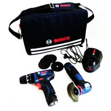 Valigia Bosch con utensili professionali (blu) a batteria: 1 trapano/avvitatore + 1 flessibile.