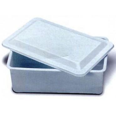 Vaschette per alimenti in plastica bianche piene (senza grata) e coperchi.