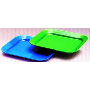Vassoi in metalcrilato ricavati da lastra intera, verdi ed azzurri, per supermercati, macellerie, pescherie, negozi alimentari.